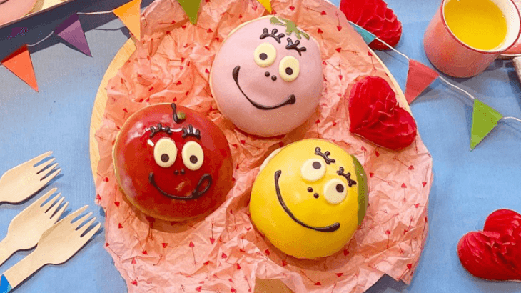 クリスピー・クリーム・ドーナツとバーバパパコラボ♪いちご、りんご、マンゴーの爽やかなフレーバーで見た目もインパクトあり!