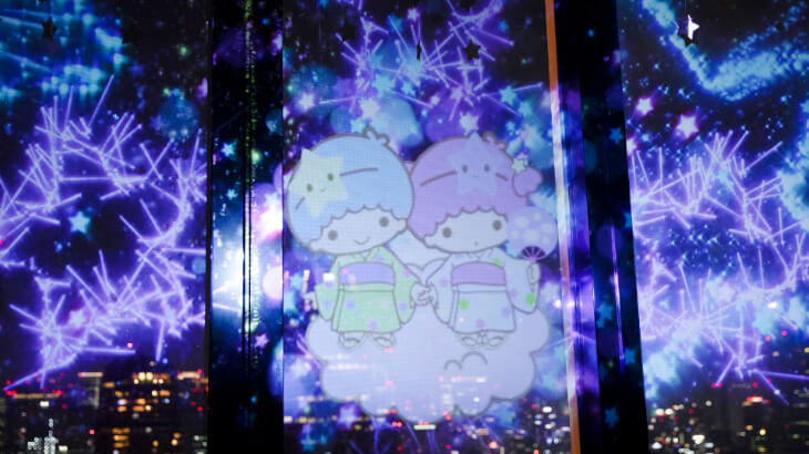 """東京タワーにてキキ&ララのプロジェクションマッピング """"東京タワー×LittleTwinStars Twinkle color miracle☆""""開催中♪"""