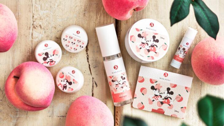 まかないこすめとディズニーストアのコラボ商品 第二弾♪ミッキーマウス&ミニーマウスデザインの桃の香りシリーズが新発売。