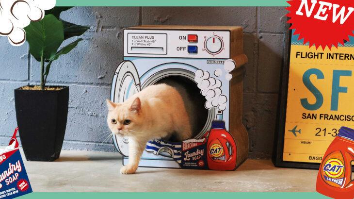 猫ちゃんが洗濯機に隠れちゃった!?ユニークな爪とぎシリーズに『LAUNDRY』が新登場♪