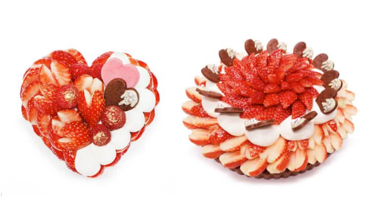 """ホールでも1ピースでも♡いちご""""恋みのり""""を贅沢に使用したハート型のバレンタインケーキがカフェコムサに登場♪"""
