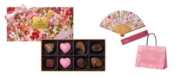 母の日の贈り物に♡GODIVAのチョコレートと美しい花々がデザインされた扇子の特別セットが発売
