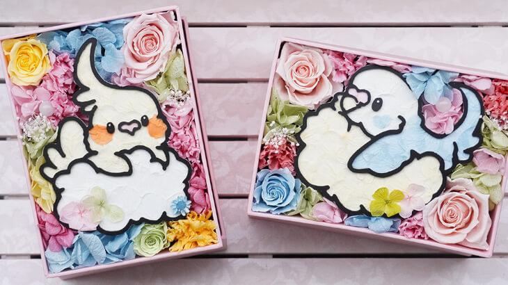 """さすらいのインコ描き""""ゆとり屋""""のキュートなインコを花で描いたフラワーBOXが登場♪"""