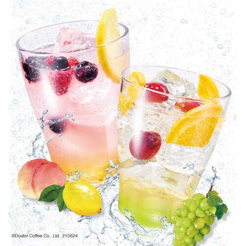 エクセルシオール カフェ夏の新作はりんご酢を使った炭酸ドリンク♪『ビネガーソーダ~ピーチ&レモン~』『ビネガーソーダ~りんご&シャインマスカット~』発売